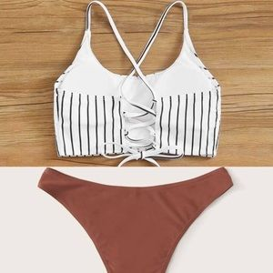 Two Piece Strappy Longline Bikini Set Size Small